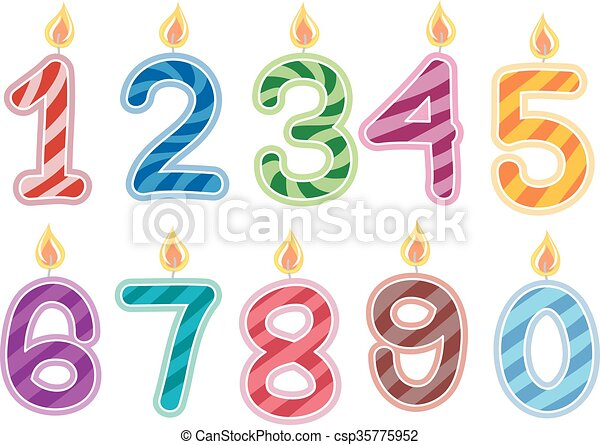 Vector Illustration Of Birthday Candles Numbers