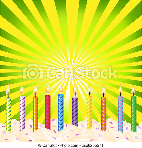 Birthday Candles On Green Background - csp6255571