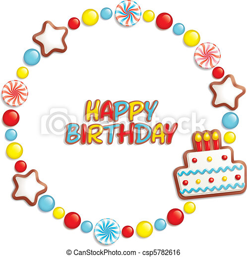 birthday candy frame birthday background with sweets clip art rh canstockphoto com