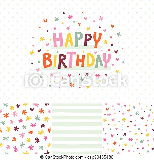 Birthday card and seamless patterns set - csp30465486