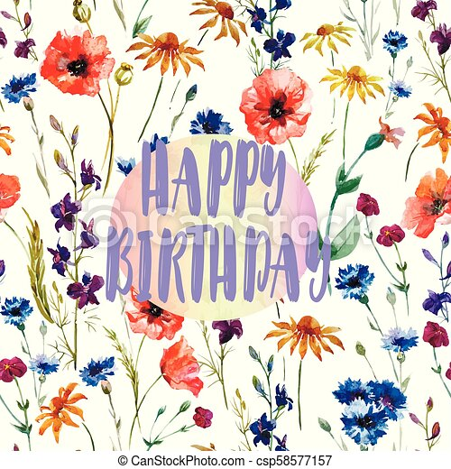 Birthday Card Beautiful Congratulation Watercolor Field Flowers