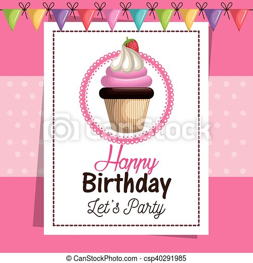 Birthday Card Cupcake Sweet Party Vector Illustration Eps 10