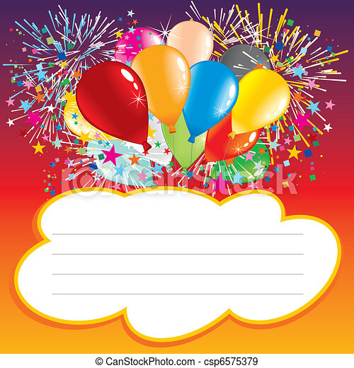 EPS Vectors of Birthday card Card with balloons and text area – Vector Birthday Cards