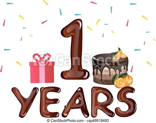 Birthday Card First Birthday With Chocolate Cake Vector Illustration
