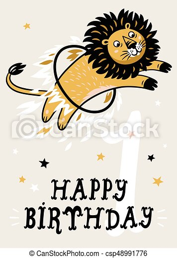 Birthday card for 1 year old baby - csp48991776