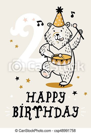 Birthday card for 2 year old baby - csp48991758