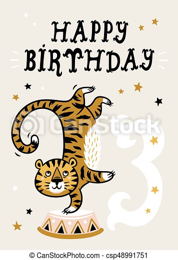 Birthday Card For 3 Year Old Baby 3 Year Baby Birthday Card Circus