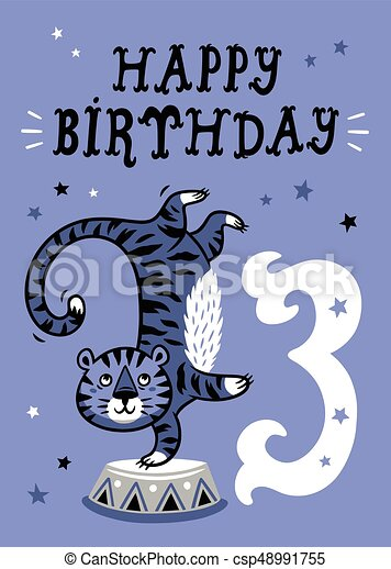 Birthday card for 3 year old baby - csp48991755