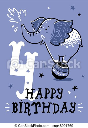 Birthday card for 4 year old baby - csp48991769