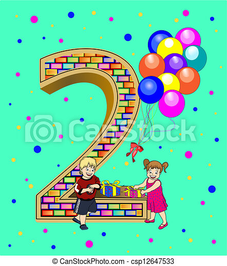 Birthday card for a two year old a birthday card or vectors birthday card for a two year old csp12647533 bookmarktalkfo Gallery