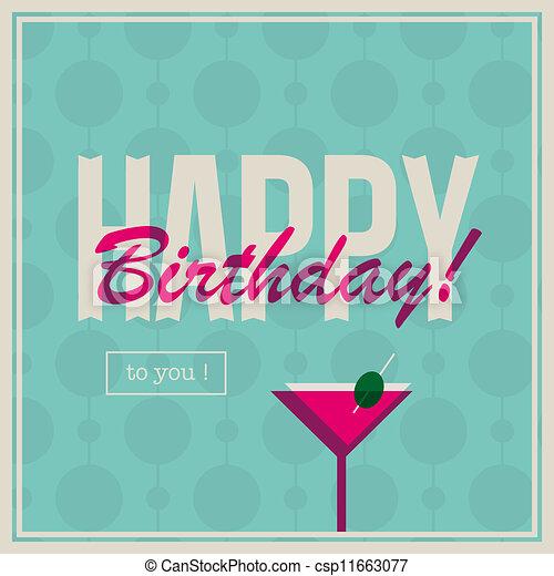 Birthday Card For Woman With Cockta Happy Birthday Card Retro