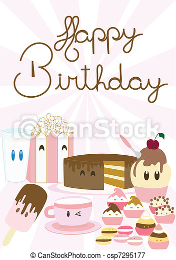 Cute happy birthday card vectors illustration search clipart cute happy birthday card bookmarktalkfo Images