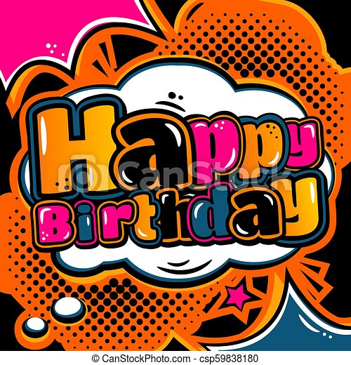 Birthday Card In Style Comic Book And Speech Bubble Vector