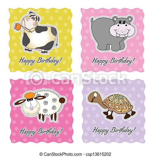 birthday card set with animals - csp13615202