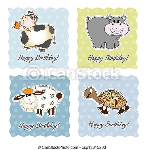 birthday card set with animals - csp13615203