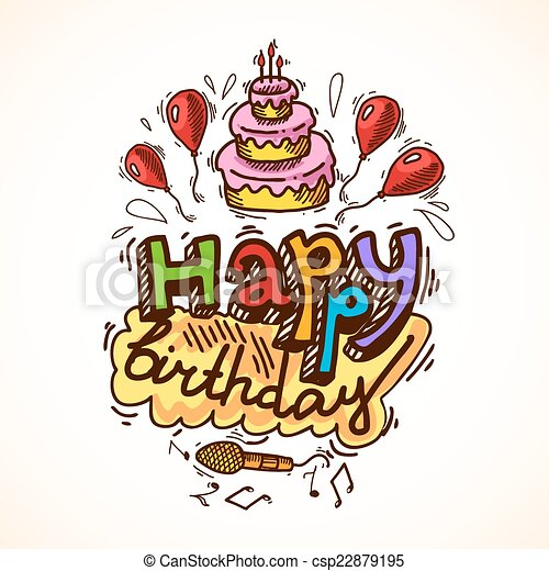 Birthday card sketch happy birthday sketch greetings card eps birthday card sketch csp22879195 bookmarktalkfo Images