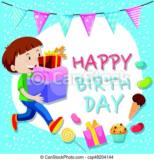 Birthday Card Template With Boy And Presents Illustration