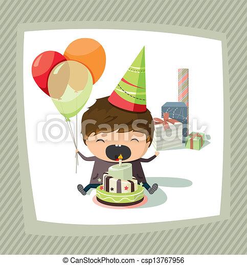 Birthday card with a boy  - csp13767956