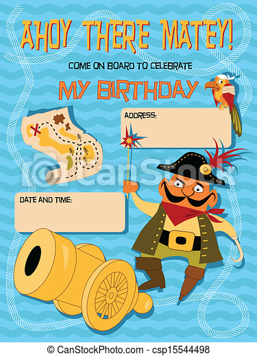 Birthday Card With A Cartoon Pirate Birthday Invitation Template