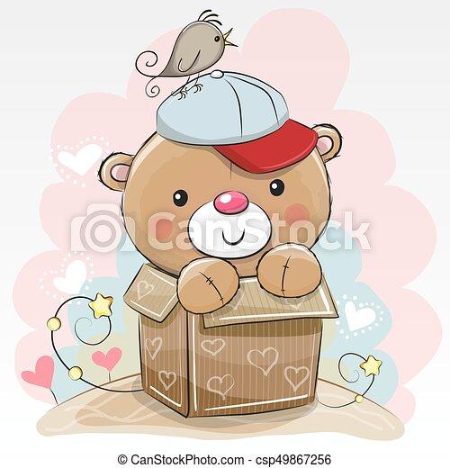 Birthday Card With A Cute Teddy Bear And A Bird