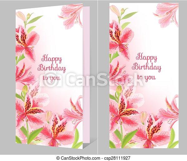 Birthday card with alstromeria - csp28111927