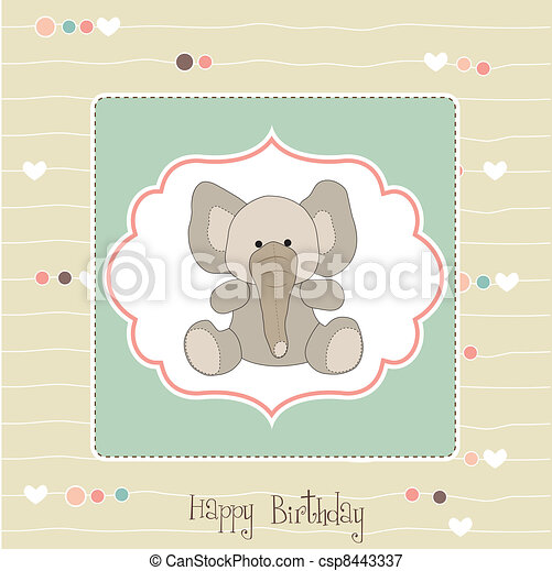 Birthday Card With Baby Elephant Birthday Greeting Card With Baby