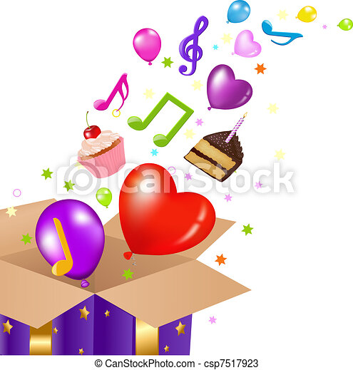 Birthday Card With Box - csp7517923