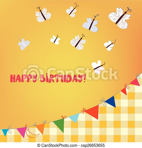 Birthday Card With Butterflies And Bunting Flags Cute Design