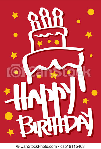 Birthday Card with Cake - csp19115463