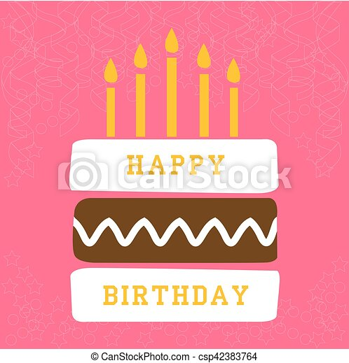 birthday card with cake - csp42383764