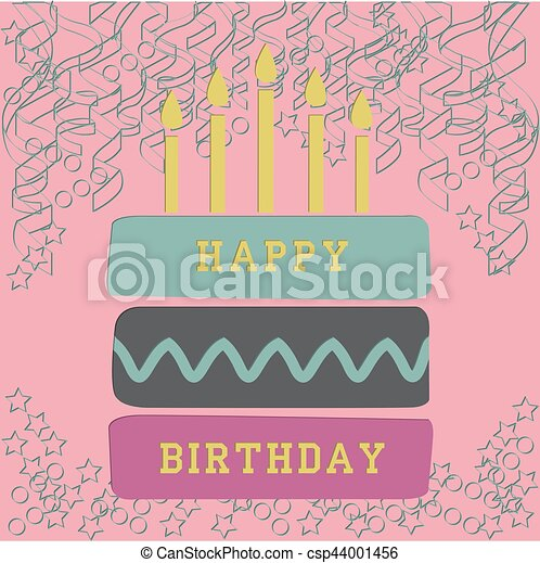 birthday card with cake - csp44001456