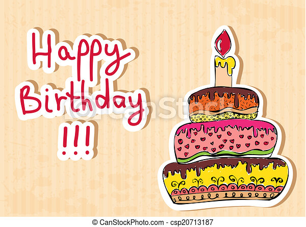 birthday card with cake - csp20713187