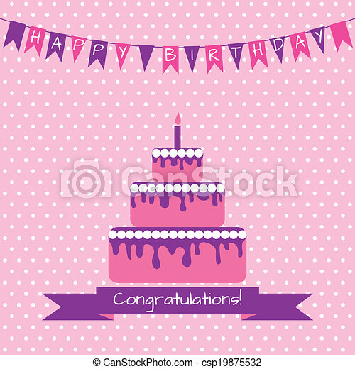 Birthday card with cake - csp19875532