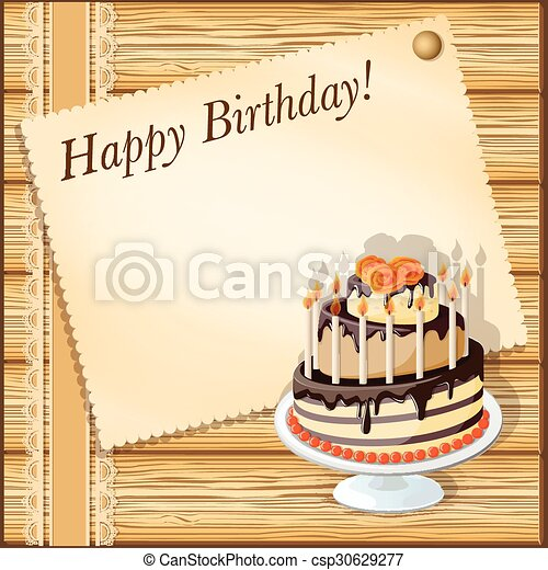 birthday card with cake - csp30629277