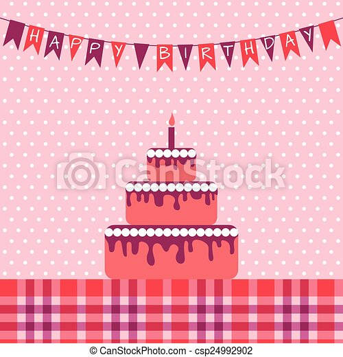 Birthday card with cake - csp24992902