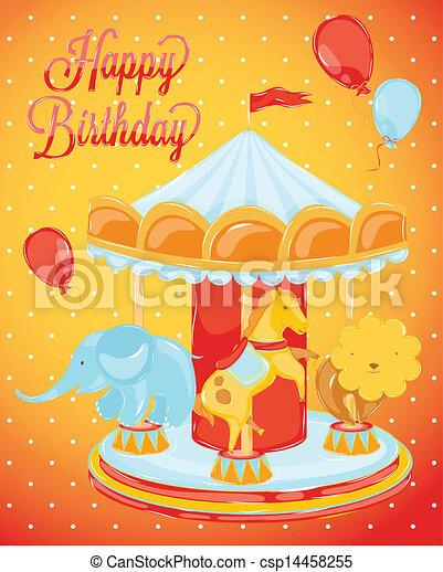 Birthday Card With Carousel