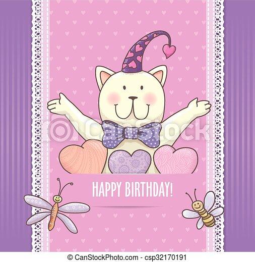 Birthday card with cat - csp32170191