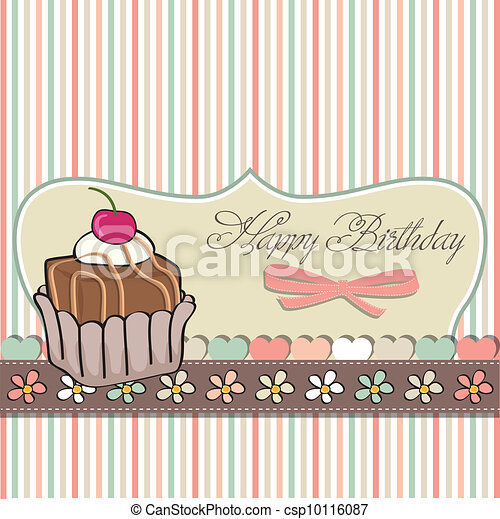 birthday card with cupcake - csp10116087