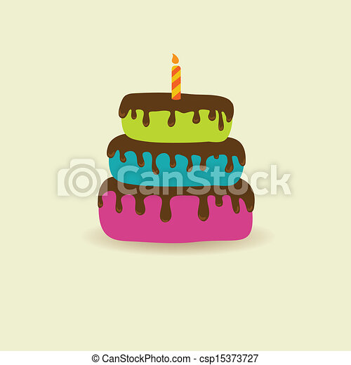 Birthday card with cute cake and candle - csp15373727