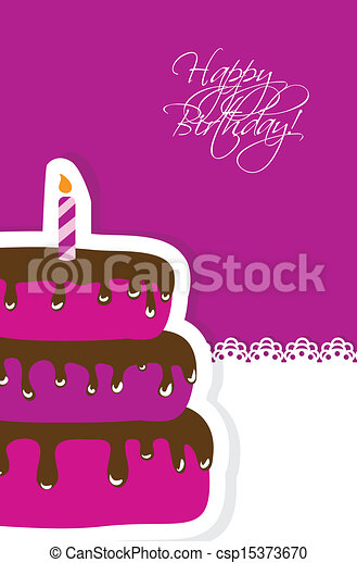Birthday card with cute cake and candle - csp15373670