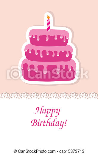 Birthday card with cute cake and candle - csp15373713