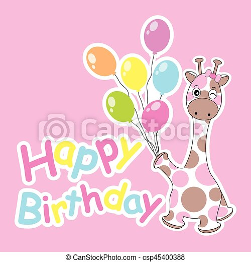 Birthday Card With Cute Giraffe Bring Colorful Balloons Suitable For