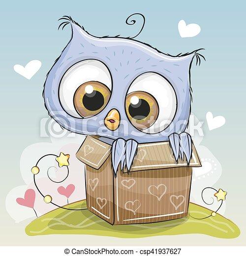 Birthday card with Cute Owl - csp41937627