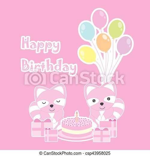 Birthday card with cute raccoons on birthday party theme - csp43958025