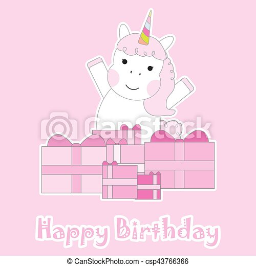 Birthday Card With Cute Unicorns And Pink Box Gifts