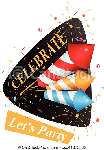Birthday card with fireworks - csp41075382