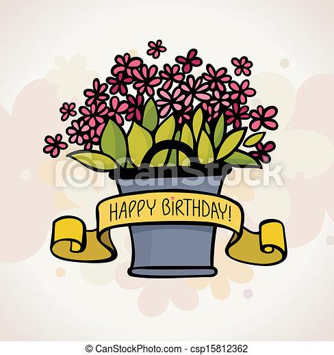 birthday card with flower - csp15812362