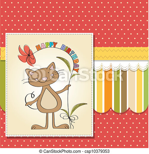 birthday card with funny cat - csp10379353