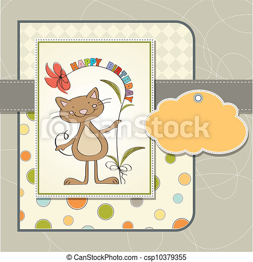birthday card with funny cat - csp10379355