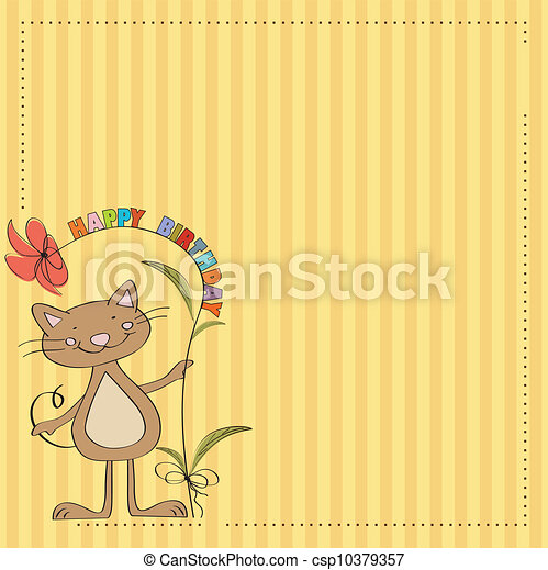 birthday card with funny cat - csp10379357